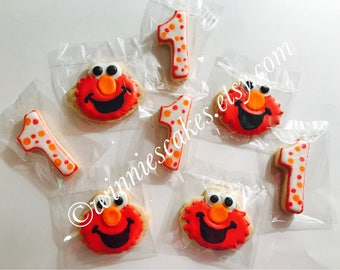 12 Elmo Inspired Cookies & Number Cookies