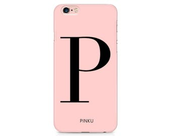 Pink Initial Custom Phone Case Mothers Day Gift for iPhone 7, iPhone 6, iPhone 6s, iPhone 5, iPhone SE Samsung Galaxy S7 S6 Custom Case