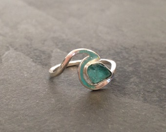 Apatite Sterling silver wave ring