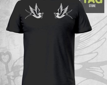 T-SHIRT Tattoo Swallow Birds Old School Vintage America style Rondini Shoulder Spalla Ink Inked