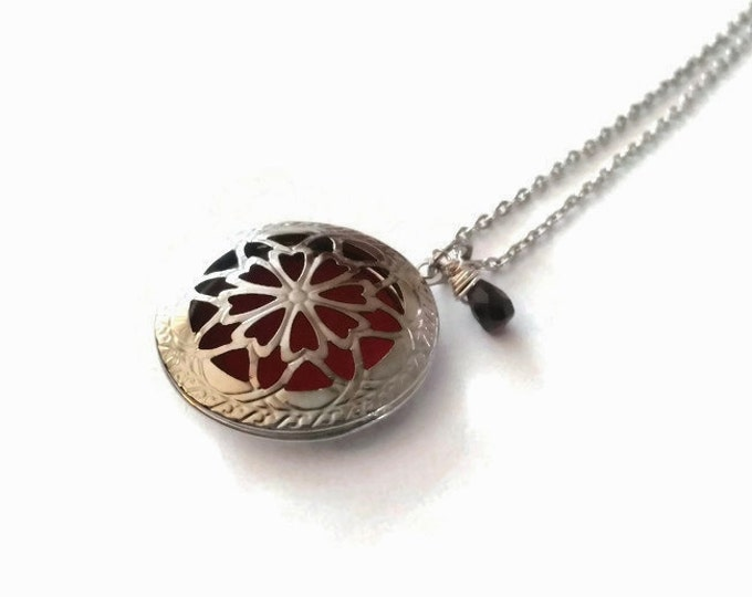 Garnet Aromatherapy Locket Necklace, January Birthstone, Garnet Jewelry