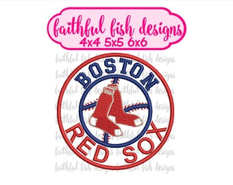 Red Sox Applique Design - Instant Download Embroidery Design - Cute Baseball Applique