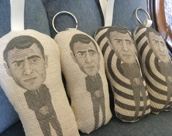 Rod Serling Twilight Zone Inspired Scented Car Air Freshener/Hanging or Keyring/Keychain Custom Plush Decoration Hanging Doll (Handmade)