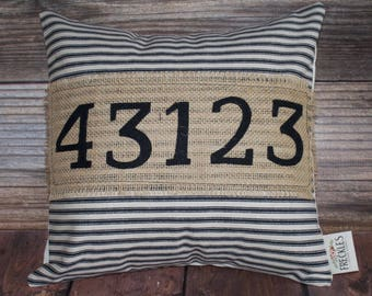 Zip Code Pillows COVER ONLY. Number pillow. Black Ticking Stripe Pillow. Home Decor. New Home Gift. Housewarming Gift. Wedding Gift