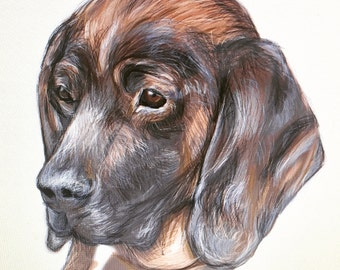 Custom printed digital pet portrait.