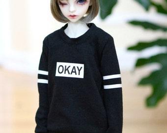 BJD 1/4 MSD Okay Sweatshirt - Black