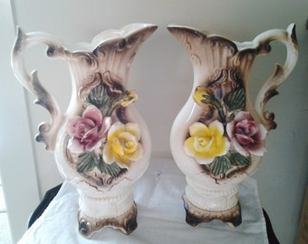 Pair Antique Capodimonte Italian Handled Vases/Jugs