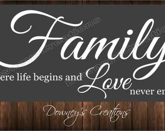 WALL DECAL / FAMILY where life begins and love never ends / vinyl wall decal / Multiple colors to choose from / Home decor