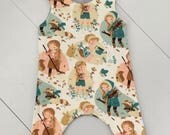 O-3 months romper using this gorgeous organic fabric from Birch