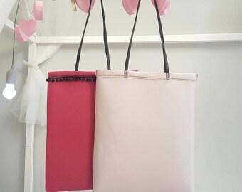Neoprene bag with leather handles