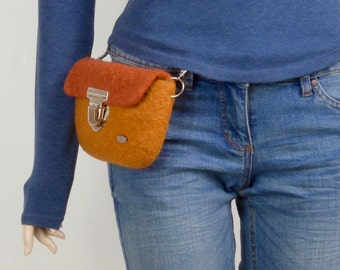 Tobacco purse, belt bag, high fashion hip bag, felted, travel wallet, waist bag,  matt orange, rust orange, Party, gift for her, fanny pack