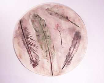 FEATHERS PLATE, handmade ceramic, ceramic bird plate, ceramic plate, ceramic home decor, kitchen decor, handmade plate, ceramics and pottery