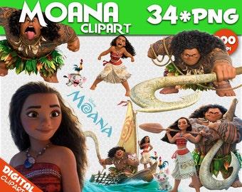 Moana Clipart 34 PNG 300dpi Images Digital Clip Art Moana Instant Download Graphics transparent background birthday Moana scrapbooking