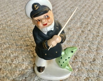 Vintage J.L. Co. Porcelain Captain Fishing - Made in Japan