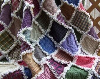 Custom Handmade Primitive Homespun  Rag Quilt Throw  64 X 64