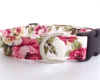Pink Floral Dog Collar   Rose Dog Collar   Girl Dog Collar   Dog Collar   Floral Dog Collar   Small Dog Collar   Big Dog Collar Puppy Collar