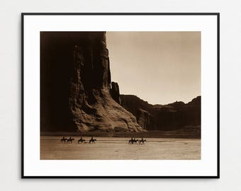 Navajo Riders in Canyon de Chelly - Edward Curtis - Native American Wall Art - Vintage - Arizona - Horses - Photograph - Print - Photo