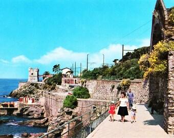 Vintage 60s Italian Travel Postcard Riviera Ligure, Italia Nervi, Genoa Gulf, Mother Children, Unposted