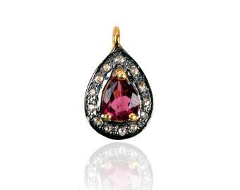 SDC-1627 P.turmuli & Pave Diamond Charm