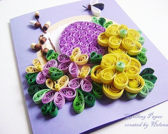 Easter Card Quilling,Cute Quilled,Easter Egg,Elegant Handmade,Easter Keepsake,Unique Easter,Greeting Card,Easter Gift,Congratulation Card