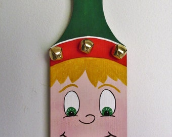 Hand-painted, Hanging, Wood Cutting Board Elf, featuring Bells