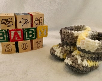 Yellow, White, and Grey Crochet Baby Booties