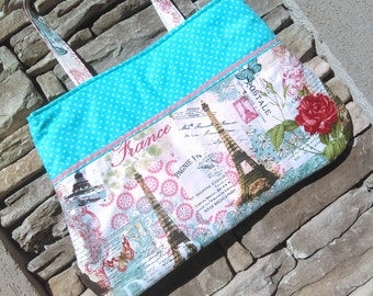 Eiffel tower tote bag, Paris cloth purse with aqua lining and accent, with 2 interior pockets RTS ready to ship
