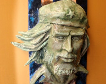 Che Guevara bust bas relief hand made in Italy