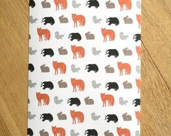 Woodland Animals Print - Woodland Animal Art - Wall Art - Kids Art Prints - Home Decor
