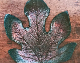 Raku ceramic bowl fig leaf with red copper oxide
