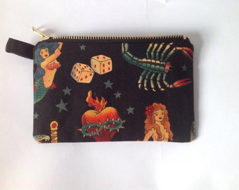 Handmade tattoo change purse with retro kitsch americana  fabric print