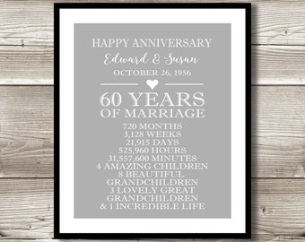 29th Wedding Anniversary Gift Ideas For Parents : 60 Year Anniversary Digital print; gift 60th Anniversary present ...