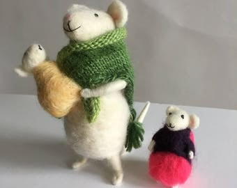 Handmade Needle Felted Mother Mouse and Children