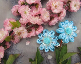 Flower Girl Hair Clips, Fabric Flowers Hair, Toddler Hair Clips, Baby Hair Clips, Blue Wedding Flowers