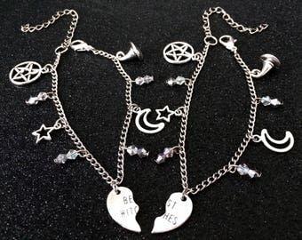 Best Witches, Friendship Bracelet, Witchy Bracelet, Gothic Jewelry, Witchy Jewelry, Gothic Bracelet, Best Friend, Witch Heart, Broken Heart