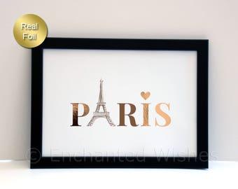 Paris Foil Print, Love Paris Print, Eiffel Tower, Paris Print, Heart Paris, Gold Foil Print, Real Foil Print, Wall Art, A4 8x10 unframed