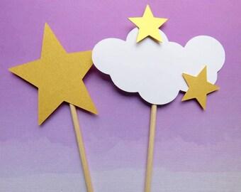 Baby Shower Centerpiece, Cloud Centerpieces, Shower Cake Topper, Star Centerpiece, Diaper Cake Topper, Cloud Baby Shower, Star Shower Decor