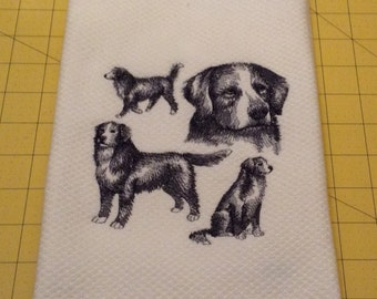 Bernese Mountain Dog Collage Embroidered Kitchen Hand Towel, Williams Sonoma All Purpose, 100% cotton, Made in Turkey