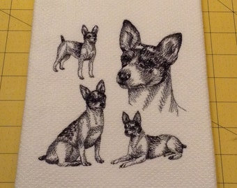 Rat Terrier Collage Sketch Embroidered Kitchen Hand Towel, Williams Sonoma All Purpose, 100% cotton & Extra Large