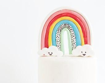 Fondant Rainbow, Cake Topper, Cloud Topper, Rainbow Topper, Edible Cake Topper, Cake Decorations, Birthdays, Showers, Weddings