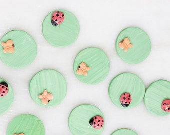 24 Edible Lady Bugs, Butterflies Cupcake Toppers, Cake Decorations, Cake Toppers