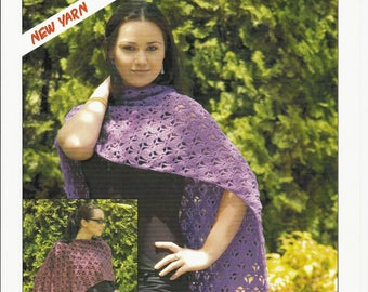 PP CROCHET PATTERN - Shawl/Wrap/Poncho made in 8 Ply Yarn in sizes Small, Medium and Large Can be made in a variety of 8 Ply Yarns - 1 Only