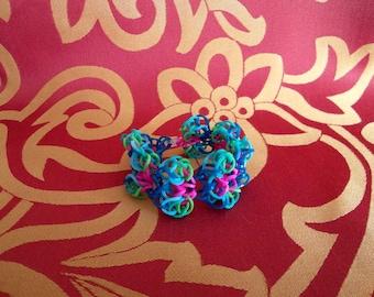 Rainbow loom, loom bracelet, Peacock feather, bracelet, bracelet, handmade, OOAK, handmade, unique