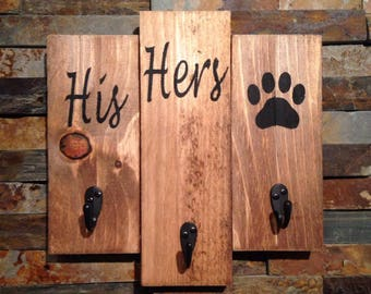 His, hers, dog leash and key holder- key and leash holder- gift for pet lover- dog sign - leash holder-rustic dog sign - key and leash sign