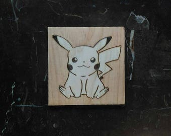 Pikachu Pokemon Stained Wood Burned Wall Hanging