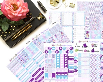 Mermaid Weekly Sticker Kit// VERTICAL Weekly Kit for Erin Condren// 6 sheets of planner stickers