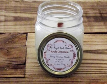 Apple Cinnamon Scented Wood Wick Soy Candle