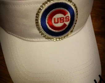 Chicago Cubs Visor Shabby chic headwear Cubbies MLB baseball with Mini Patch