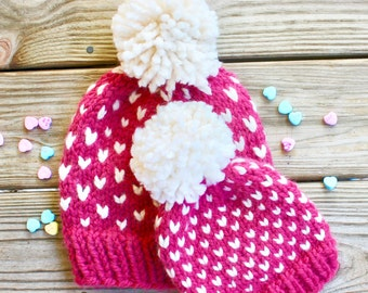 Mommy and Me Hats, Chunky Mommy and Me Winter Hats, Mommy and Me Matching Hats, Baby Valentine Hat, Chunky Pom Beanies, Matching Beanies