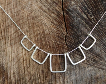 Silver statement necklace, silver bib necklace, square pendant necklace, multi-hoop necklace, geometric necklace,